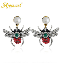 Ajojewel Creative Womens Rhinestone Spider Earrings 2019 Fashion Simulated Pearl Insect Jewelry Bijoux Femme