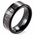 SHARDON Men's Black Titanium Deer Tracks Realtree Camo Ring Outdoor Hunting Engagement Wedding band Ring