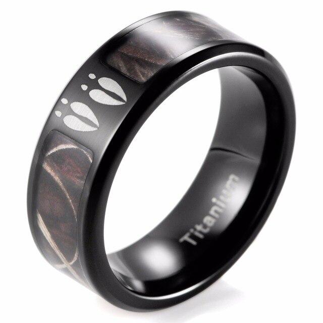 SHARDON Men's Black Titanium Deer Tracks Realtree Camo Ring Outdoor Hunting Engagement Wedding band Ring