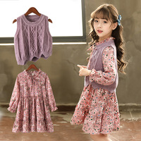 Girls Clothing Sets 2018 New Style Winter Children Clothes Cute Sweater Vest + Floral Dress Long Sleeve 2pc Kids Clothes Sets