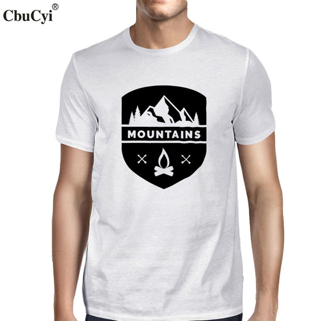 c690132f9 Mountains T Shirt Harajuku Cool Nature tshirt Fire Graphic Tees Men's  Hipster Printed TShirt White Black