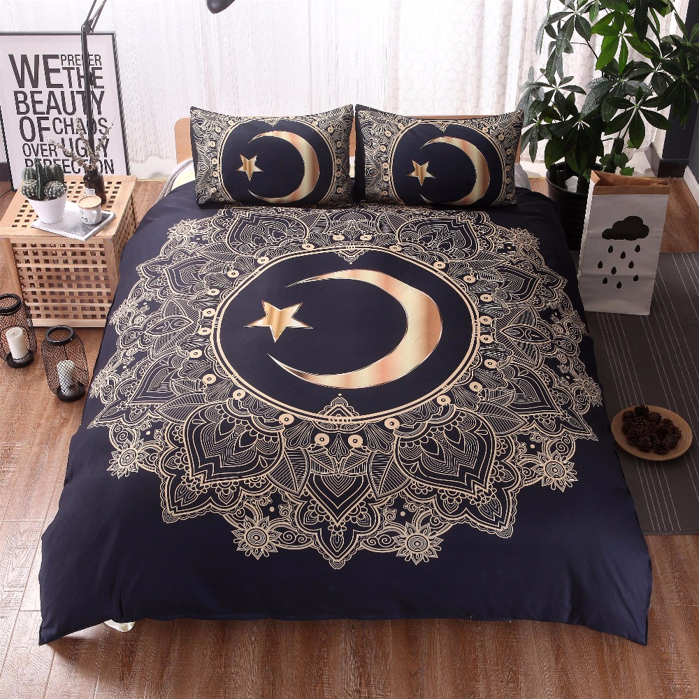 Mandala Duvet Cover Set With Pillowcase Dark Blue Moon And Star