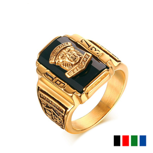 FDLK Fashion Vintage Gold Metal Black Blue Red Crystal Ring 1973 Walton Tigers Navy Signet Rings for Men Male Boho Jewelry(China)