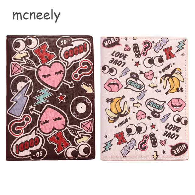 Mcneely Famous brand Doodle Vintage Passport Holder Card Holder,PU Leather Design Travel Passport Cover ID Card Holder 14*10CM