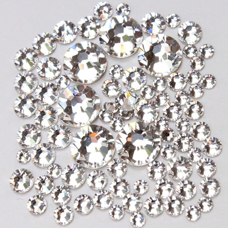 1000pc / Pack Mix izmērs (ss3 ss4 ss5 ss6 ss8 ss10 ss12 ss16) Stikls, kas nav labojumfailu stikls, skaidrs, lai izmantotu nagu mākslas atloka rhinestones