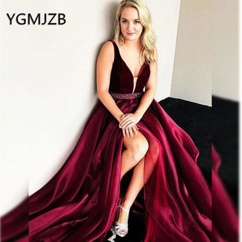 Gala Jurken 2019 Sexy Long   Prom     Dresses   with Beaded Crystal Sash A-Line V Neck High Slit Evening Gown Women Formal Party   Dress