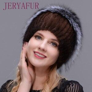 Image 3 - 女性新冬の毛皮キャップフード付きヘッド本物のミンクの毛皮の帽子と銀キツネの毛皮花柄帽子高品質毛皮ファッション帽子