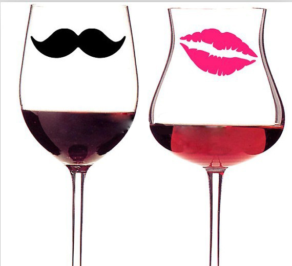 Diy 10 mustaches 10 lips vinyl decal stickers for wedding decoration mugs cups wine glass