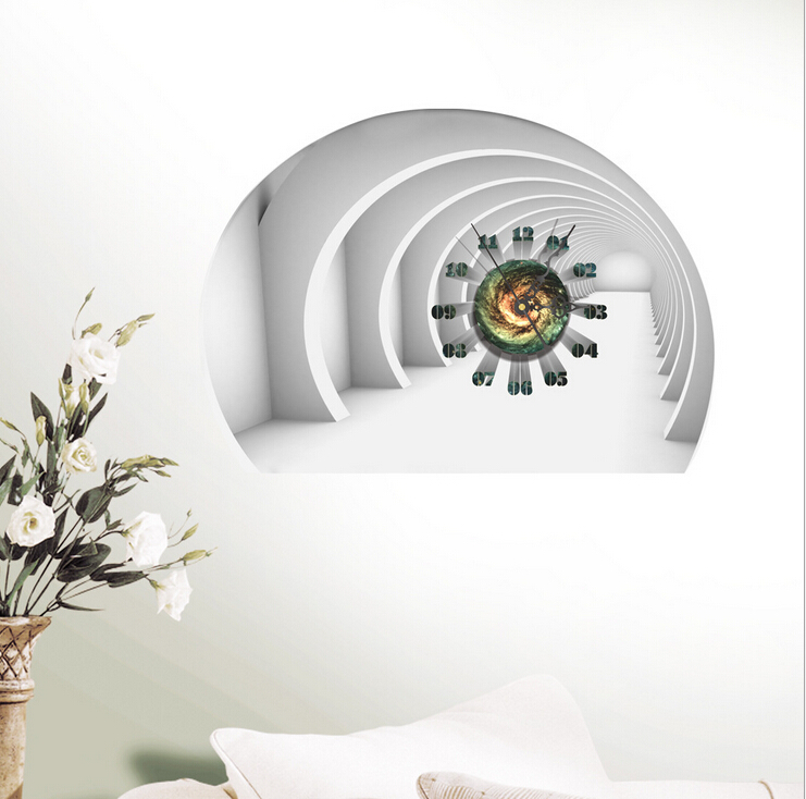 creative office wall art. 3D Wall Stickers DIY Creative Room Decal Mute Silent Clock Home Art Mural Removable Office Decor-in Clocks From \u0026 Garden On