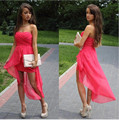 Simple Coral High Low Sweetheart Strapless Chiffon Homecoming Dress With Ruched Bodice