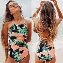 2019 Sexy One Piece Swimsuit Women Plus Size Swimwear Print Bodysuit Bandage Cut Out Beach Wear Bathing Suit Monokini Summer XL цена в Москве и Питере