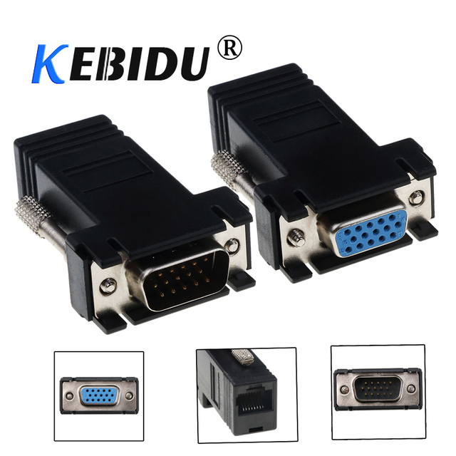 kebidu Mini VGA Extension Extender Cord Male Female To Lan Cat5 Cat5e RJ45 Ethernet Adapter for PC Laptop