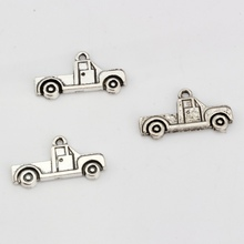 100pcs Antique silver Zinc Alloy Single-sided Truck Charm Pendants DIY Jewelry 26x14mm A-017