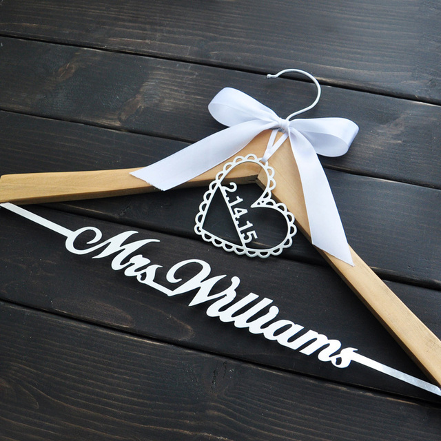 Personalized Wedding Hanger Bride Bridesmaid Groom Name With Bow Gifts Bridal Dress 3