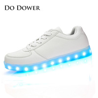2017 Fashion PU Leather Children Shoes Luminous Sneakers Boy Girl Shoes Led Glowing Sneaker Kids Shoes