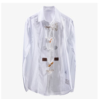 Luxury Designer Brand Blouses for Women Long Sleeve 6 Different Personality Buckle Designs Embroidered Loose Shirts White