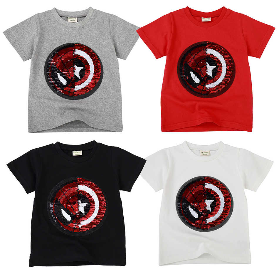 f8ed3365ea Magic Reversible Sequin Baby Girls Boys T Shirt Tee for Summer Children T-Shirts  Casual
