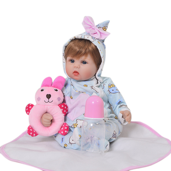 "Bebe doll real baby  doll 18""43cm vinyl silicone reborn baby dolls toys for children gift  cotton body with rattle plush gift"