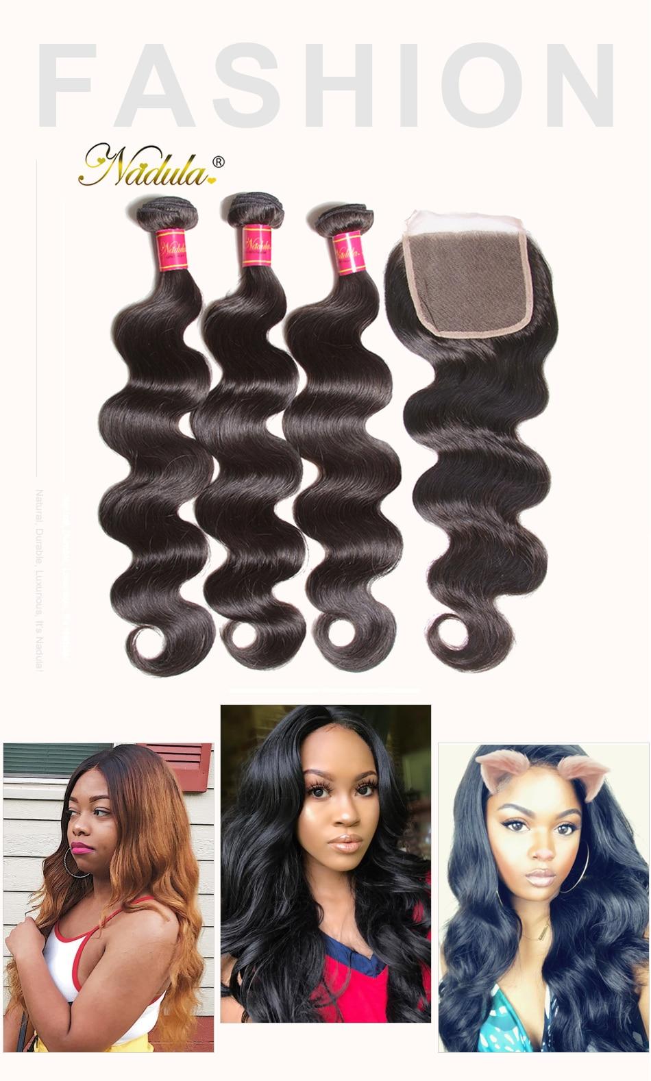 HTB1eRZKaUvrK1RjSspcq6zzSXXaX Nadula Hair Brazilian Body Wave Bundles With Closure 4*4 Lace Closure Brazilian Hair Weave Bundles With Closure Human Remy Hair