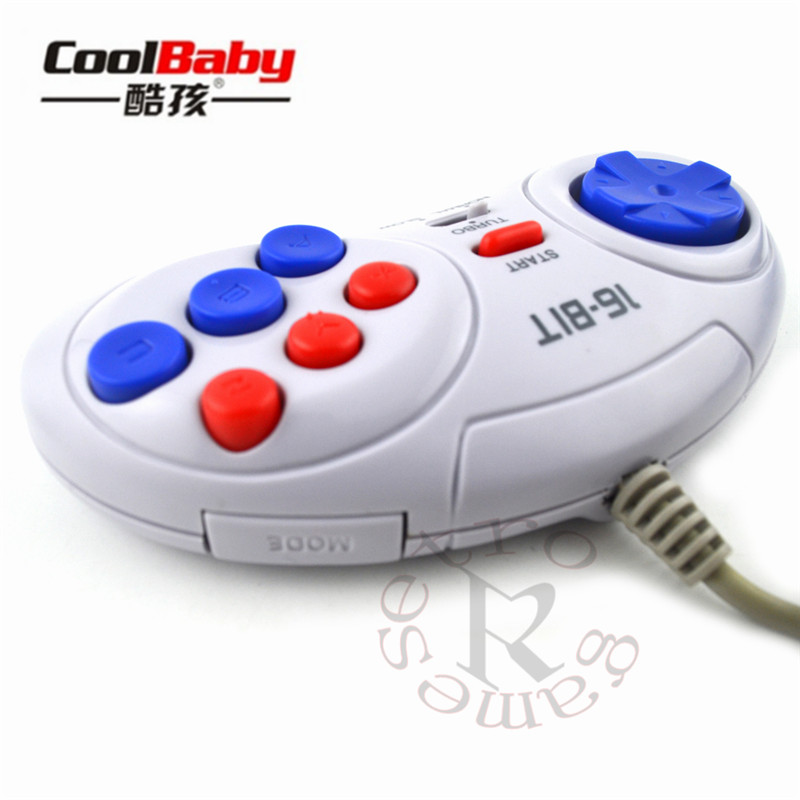 50pcs 16 bit Classic Wired Game Controller for SEGA Genesis 6 Button Gamepad for SEGA Mega Drive Mode Fast Slow white