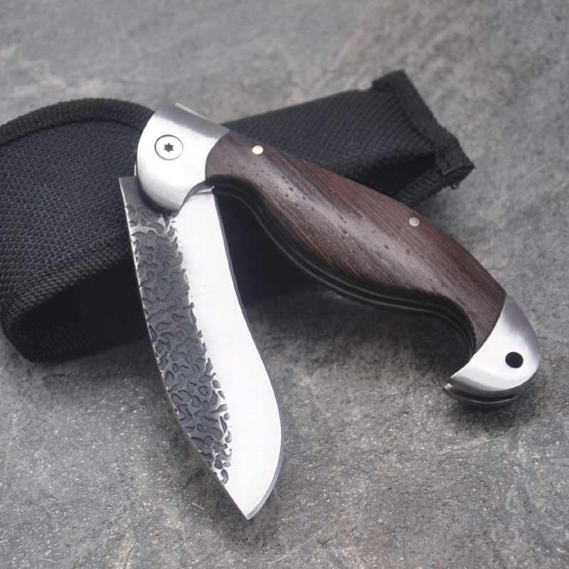 """Fishing Accessories 8.2"""" Damascus tactical folding knife Color + wood handle Duanda blade camping survival Pocket knives outdoor hunting Tools EDC"""