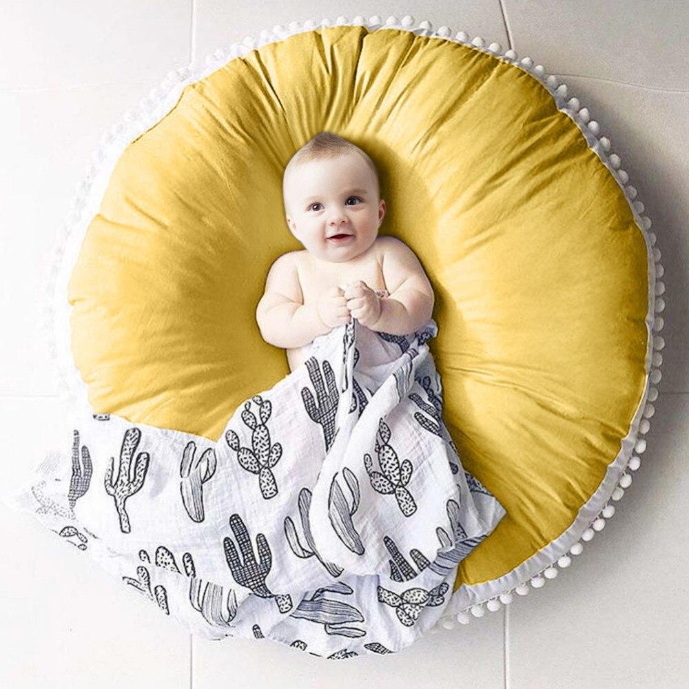 Nouveau-né bébé tapis de jeu rond pur coton laine boule tissu épaissi enfants tapis bébé tapis de jeu décoration de chambre d'enfants