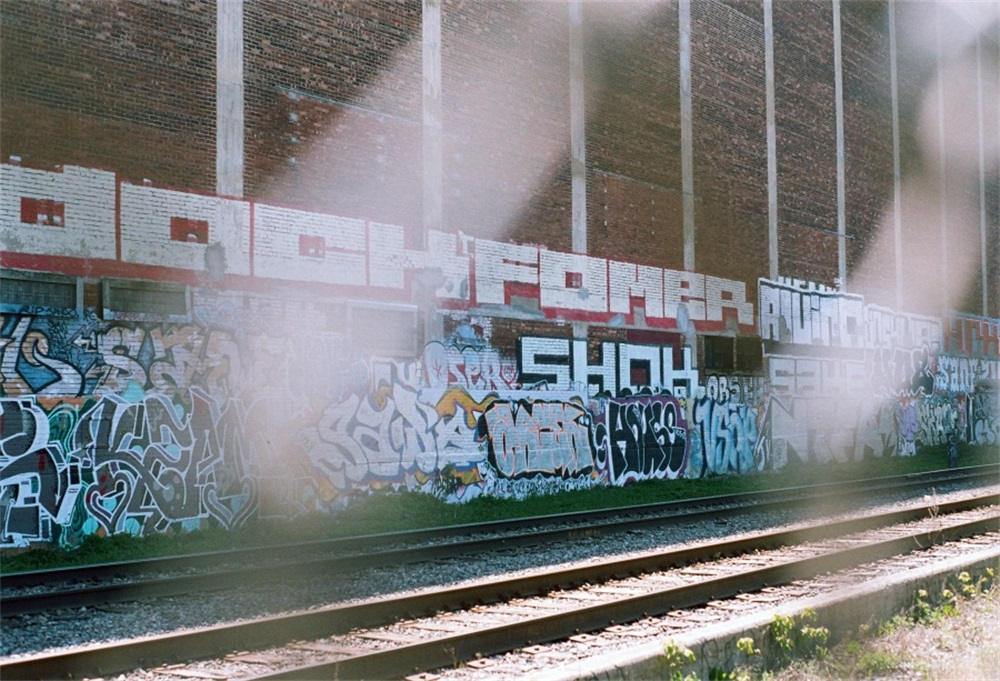 Laeacco Old Brick House Graffiti Wall Railway Scenic Photography Backgrounds Customized Photographic Backdrops For Photo Studio