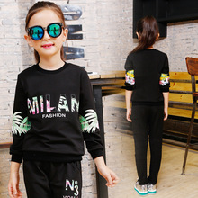 Girls suit spring 2019 new children's clothing fashion big virgin sports suit sleeves printed two-piece Korean casual