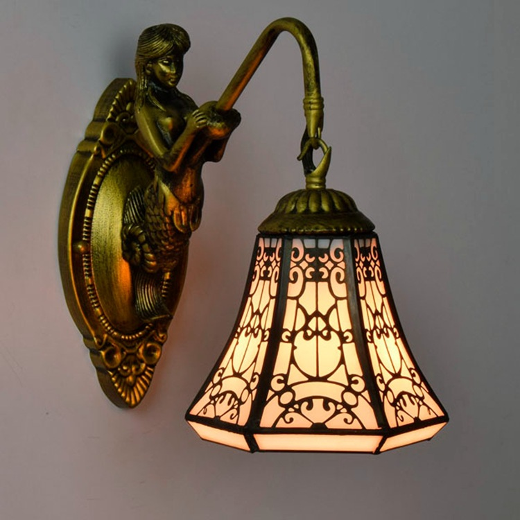 Tiffany Baroque vintage Stained Glass Iron Mermaid wall lamp indoor lighting bedside lamps wall lights for home AC 110V/220V E27 tiffany shell vintage stained glass iron mermaid wall lamp indoor lighting bedside lamps wall lights for home ac 110v 220v e27