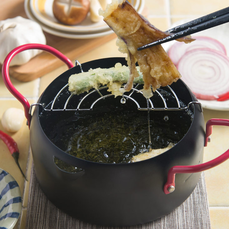 Creative Japanese Tempura Fryer Oil Container with Filter shelf Fried Pot Set Multisize Household Frying Pan Pot Cooking Tools# salter air fryer home high capacity multifunction no smoke chicken wings fries machine intelligent electric fryer