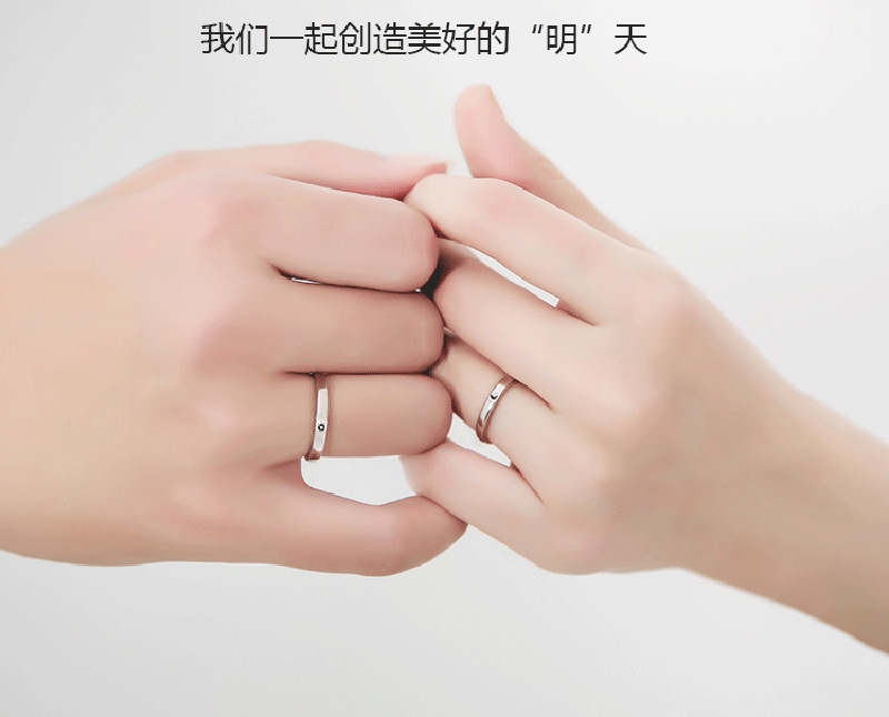Silver Ring Simple Style Moon Sun Adjustable 925 Couple Rings For Girls Boys Best Friend Jewelry 7