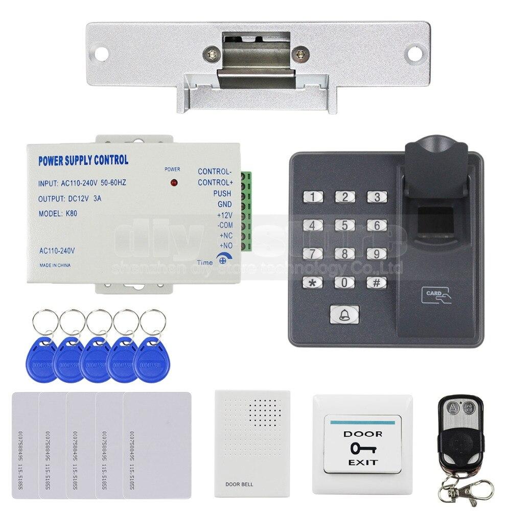 DIYSECUR Biométrique D'empreintes Digitales RFID 125 KHz Mot de Passe Clavier Porte Système de Contrôle D'accès Kit + Grève de Verrouillage