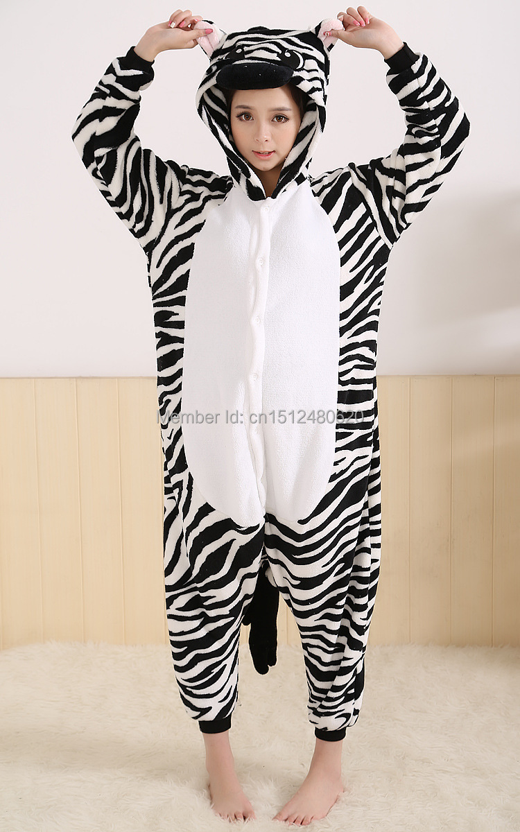 Kigurumi Adult Flannel Zebra Onesie Hooded Pajamas Warm Animal Pijamas  Pyjamas Children Sleepwear de Femininas Christmas Gifts-in Anime Costumes  from ... 2374253b9