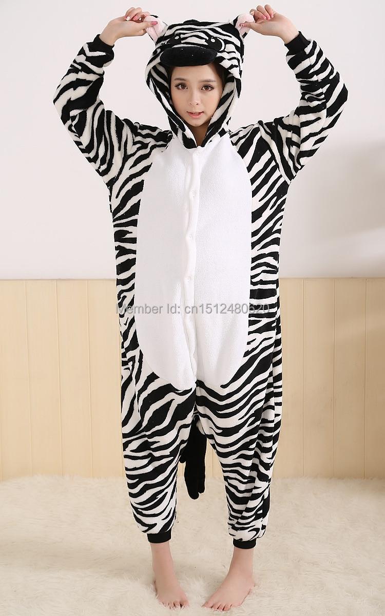 0de240a5ed Kigurumi Adult Flannel Zebra Onesie Hooded Pajamas Warm Animal Pijamas  Pyjamas Children Sleepwear de Femininas Christmas Gifts-in Anime Costumes  from ...