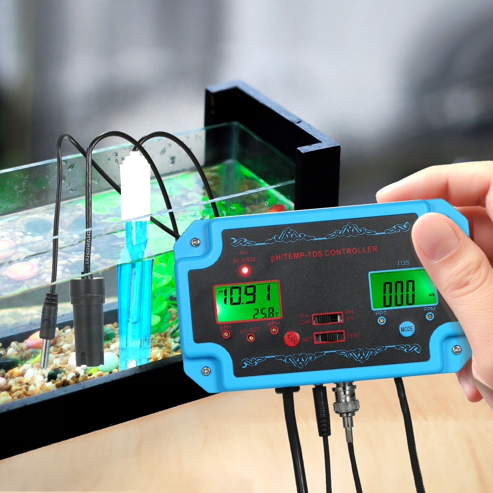 3 in 1 pH TDS TEMP Water Quality Detector pH Controller with Electrode BNC Type Probe
