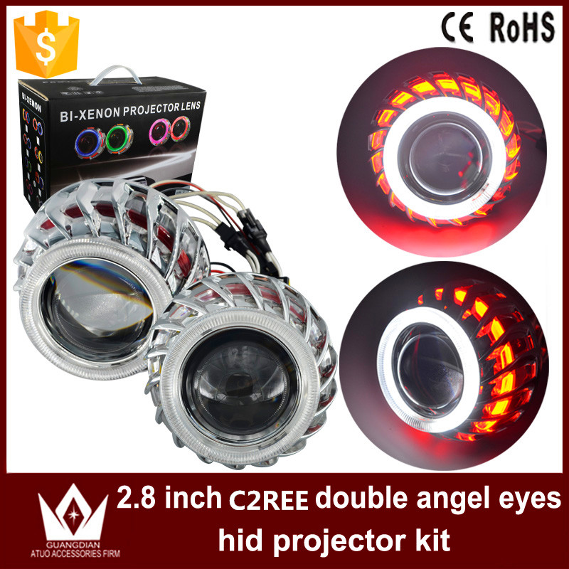 Здесь можно купить   Night Lord C-r-ee F2 Circular /Round Double Angel Eyes bi -xenon hid conversion kit Projector Lens Light For Auto Headlights Автомобили и Мотоциклы
