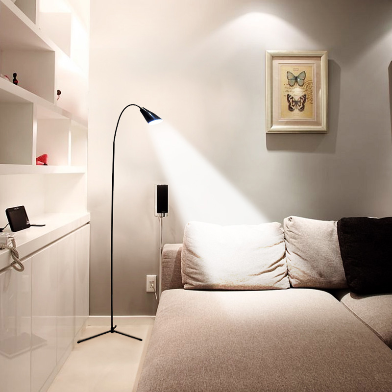 LED Floor Lamp Flexible Gooseneck Standing Dimmer USB Light with Stable Base Standing Reading Lamp for