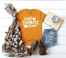 ONE THANKFUL MAMA T-shirt Halloween pumpkin Thanksgiving days gift for mom graphic slogan fashion casual tumblr grunge tee shirt