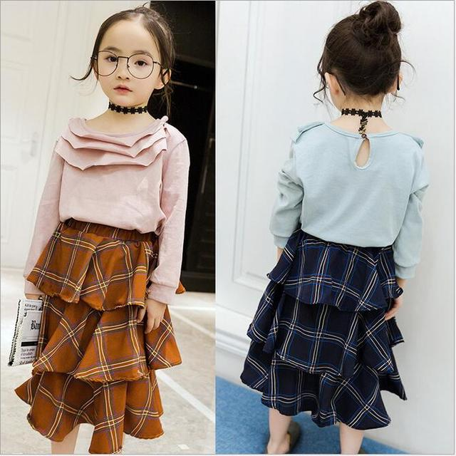 Spring natural color plaid cake saia tutu fluffy skirt princess ruched ruffles skirts for girls solid clothing child pettiskirt