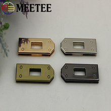 Meetee 4pcs Rectangle Metal Buckle Alloy Clasp Lock Handle Buckles Leather Corfts Bag Luggage Decor Hardware Accessories BD456