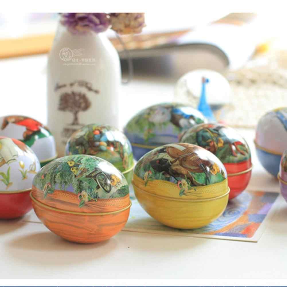 ביצת פסחא צבוע Eggshel פח קופסות מקרה חתונה ממתקי יכול תכשיטי מסיבת אבזר ברזל תכשיט מתנה לחג המולד צבע אקראי