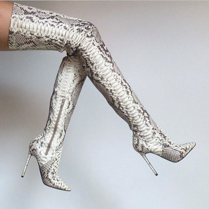 Spring Autumn New Fashion High Quality Leather Pointed Toe Women Boots High Heels Sexy Silver Over The Knee Thigh High Boots