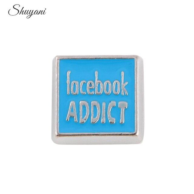 20pcs blue letter facebook addict square charms fit photo living locket pendant necklace 88mm