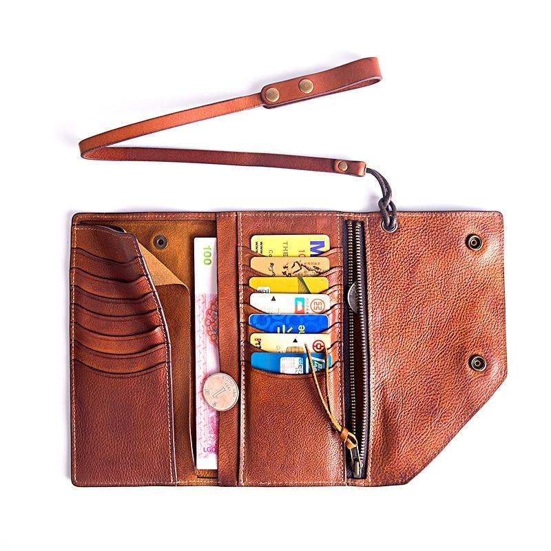 Männlichen Tasche Rindsleder Lange Persönlichkeit Ultra Leder Männer dünne Multi Karte Brieftasche Aetoo Jugend Handgemachte Retro Weiche karte Brown Light dRxwa6