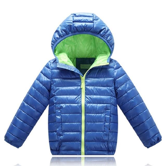 2016 Nueva Chaqueta de Invierno Para Niñas niños Con Capucha Collor Abrigos Sólidos Gruesos de Los Niños Parkas Niños de Algodón Térmica Ropa 4-11Y SC565