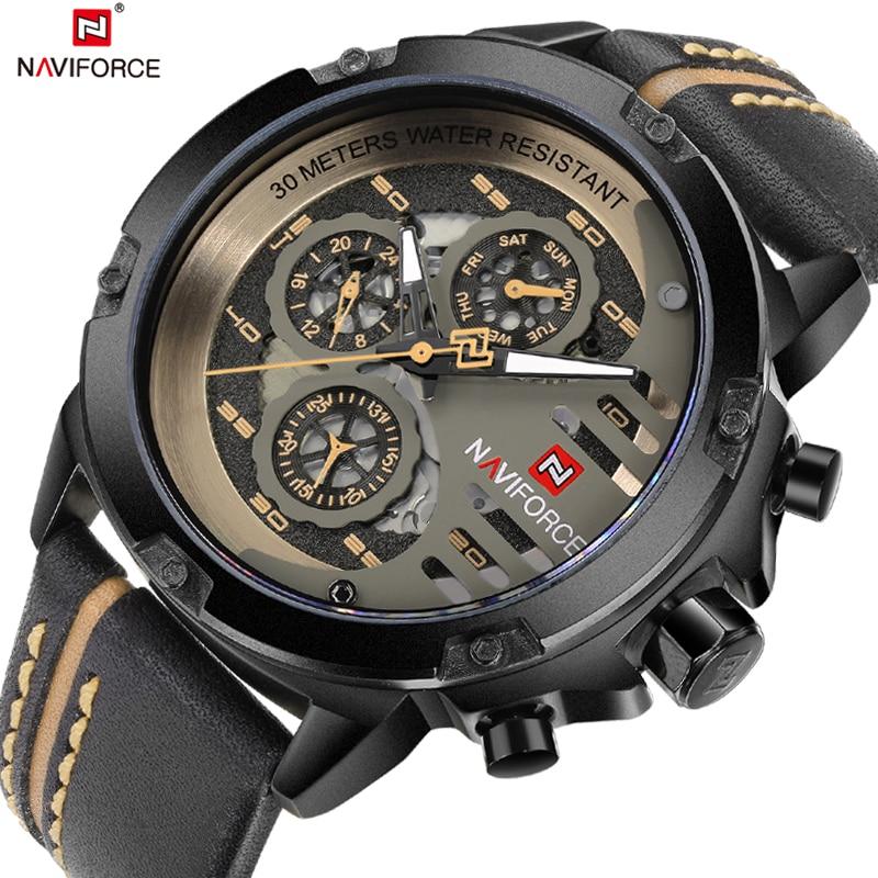 цена на Top Luxury Brand NAVIFORCE Leather Strap Analog Date Men's Quartz Watch Casual Watches Men sport Wristwatch relogio masculino