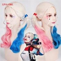 Cosplay para adultos de disfraces cosplay peluca de mujer joker y harley quinn comando suicida y vestuario accesorios pelucas de encaje negro y rojo