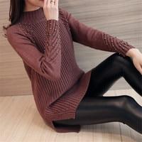Autumn and winter sweater female head long sweater in Korean Turtleneck Sweater Dress Dress Size Split loose woman