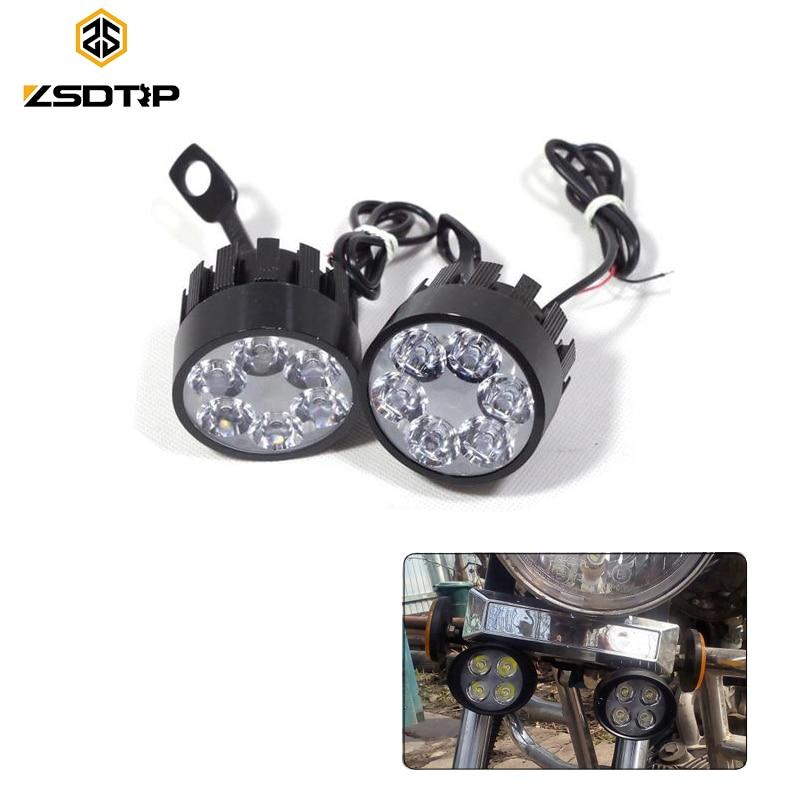 ZSDTRP 2pcs Led Motorcycle Headlight Bulbs Led 12V Lamp Scooter Moto Accessories Fog Lights Assist Lamp Rearview Mirror Light
