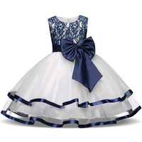 Formal Teenage Girls Party Dresses Blue Prom Dress Baby Girl Clothes Kids Girl Birthday Outfit Costume Children Graduation Gown